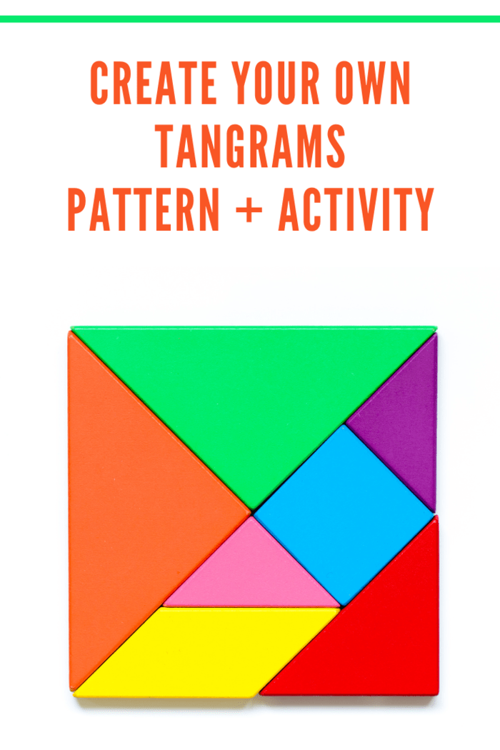 Color tangram puzzle in square shape on white background