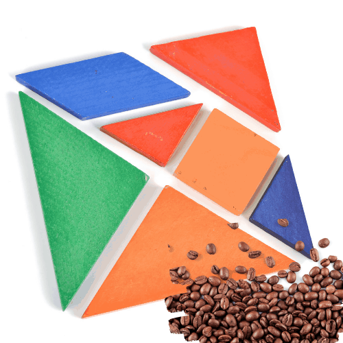 Color tangram puzzle in square shape on white background with beans for tangram problem solving activity
