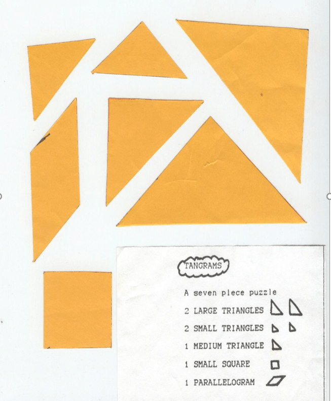 tangram cut outs with label