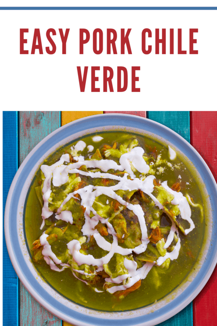 chile verde topped with sour cream