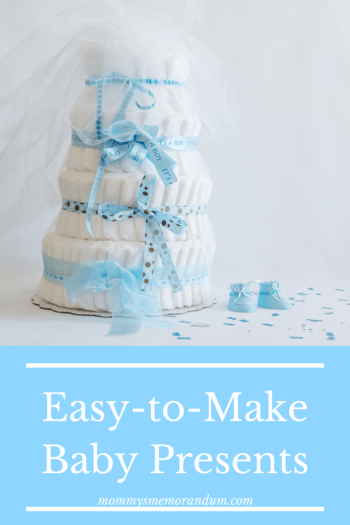 diaper cake with blue embellishments