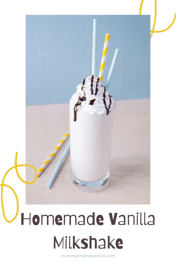 homemade vanilla milkshake drizzled with chocolate syrup