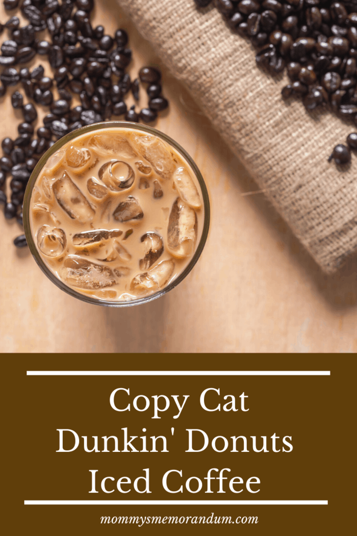 overhead view of copy cat dunkin coffee on table next to roasted coffee beans