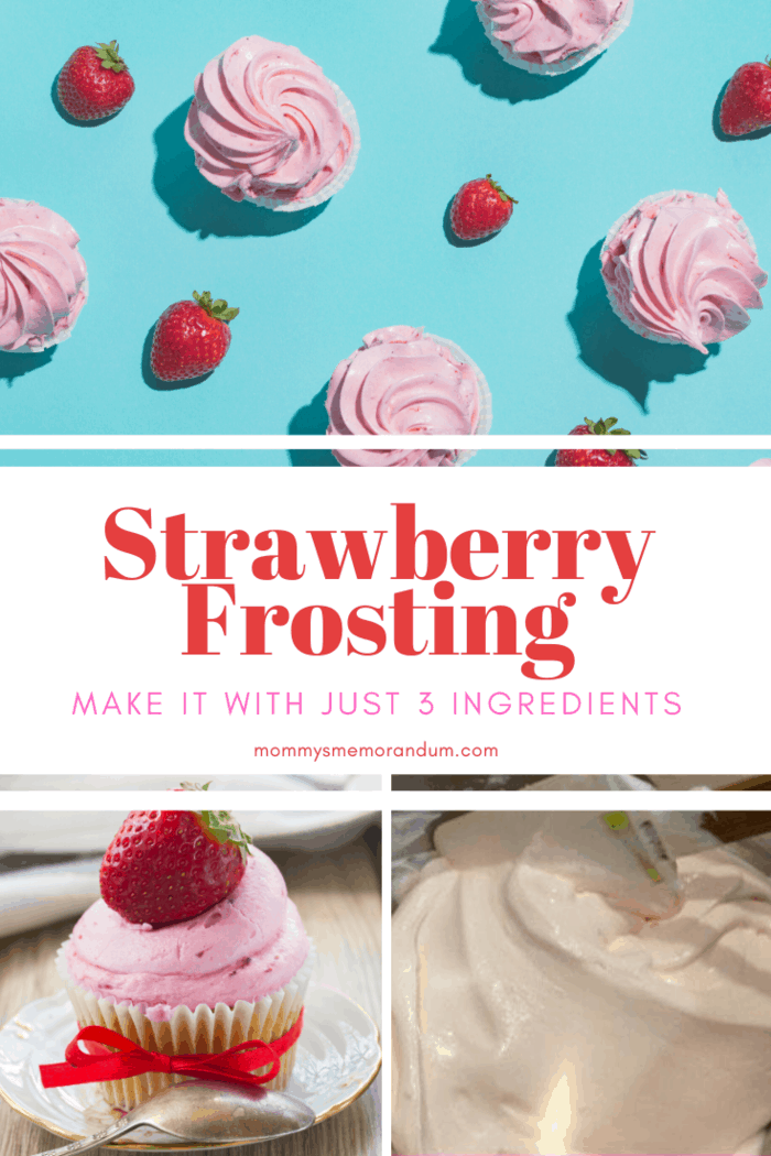 collage of strawberry frosting