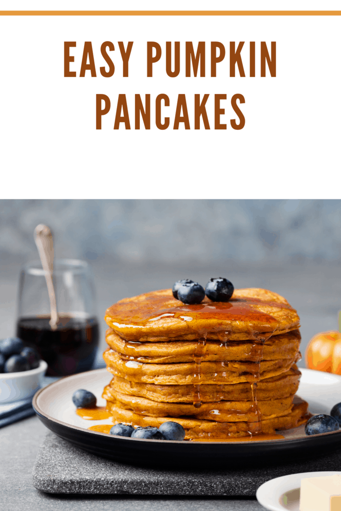 pumpkin pancakes topped with blueberries