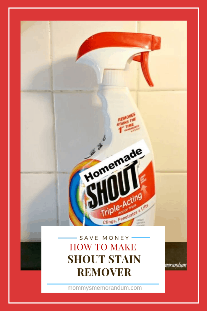 homemade copy cat shout stain remover in bottle with white tile background.