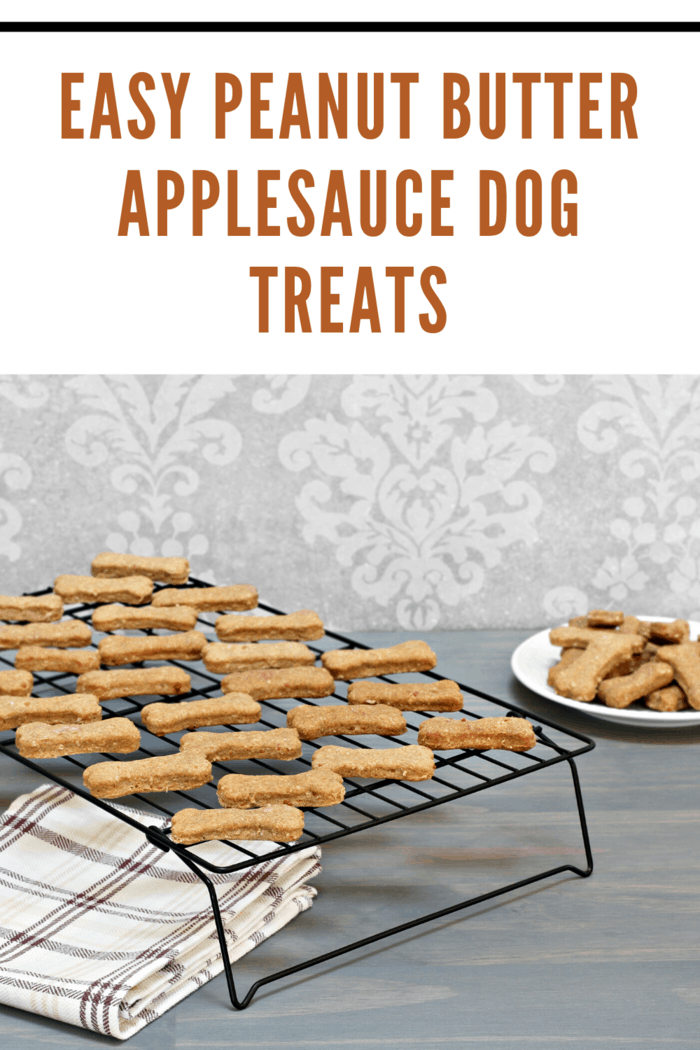 Peanut butter applesauce dog treats on cooling rack on counter