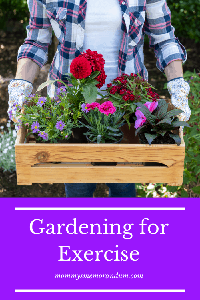 woman who enjoys gardening carrying flowers in wooden box crate