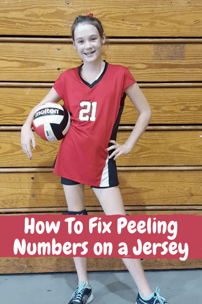 girl in vollyball uniform with repaired jersey