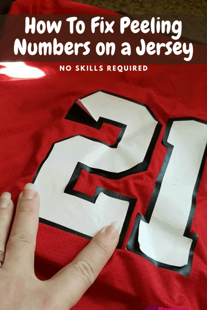 number 21 peeling on sports jersey