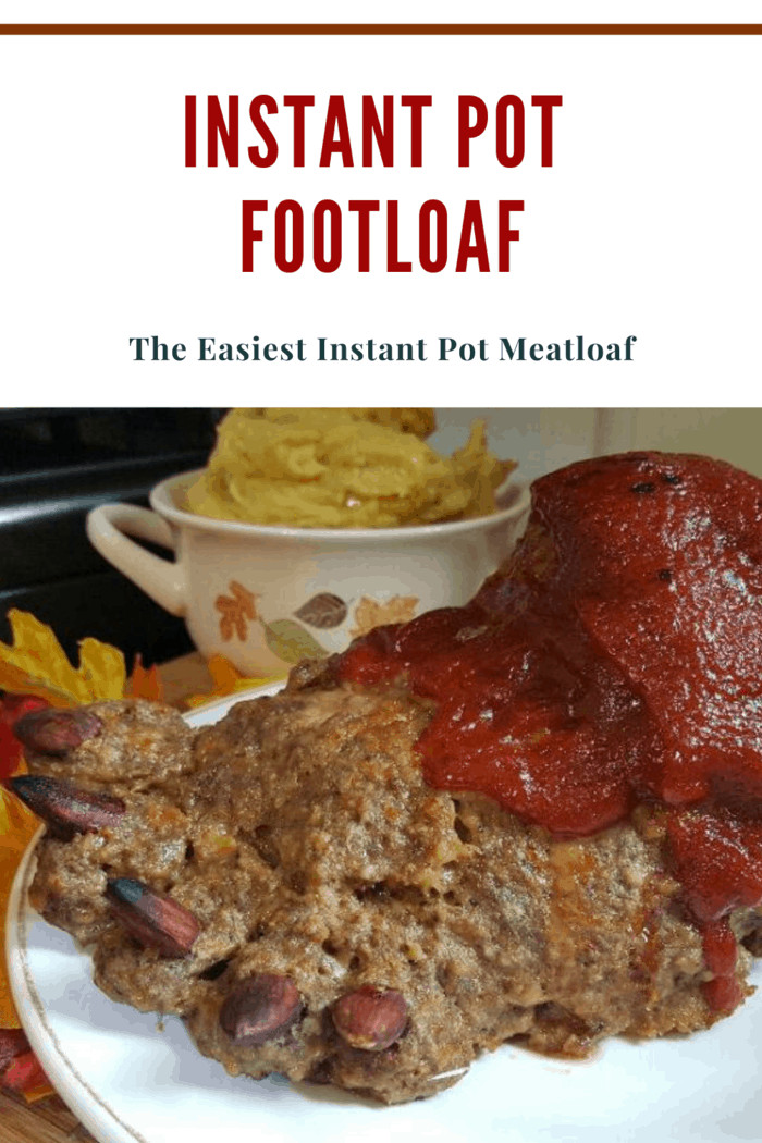 instant pot footloaf (easy meatloaf in the instant pot shaped like a foot with gory ketchup blood detail)