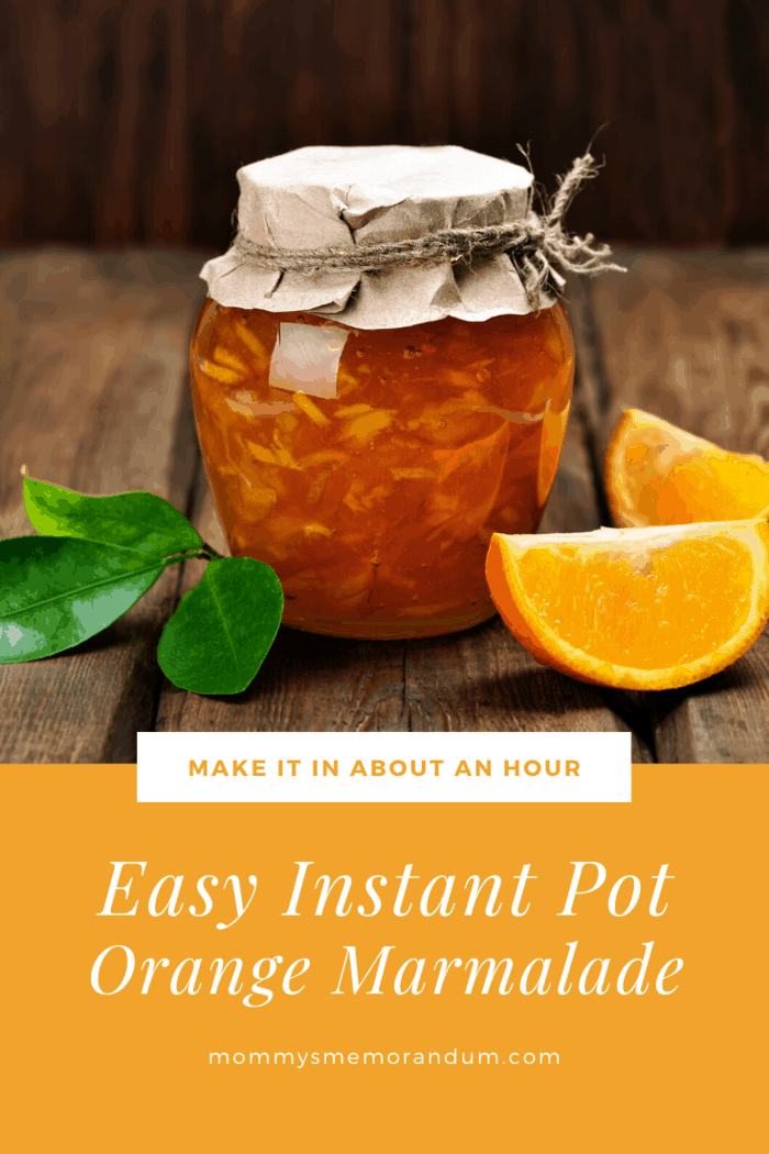 instant pot orange marmalade in jar with twine around lid and orange slices