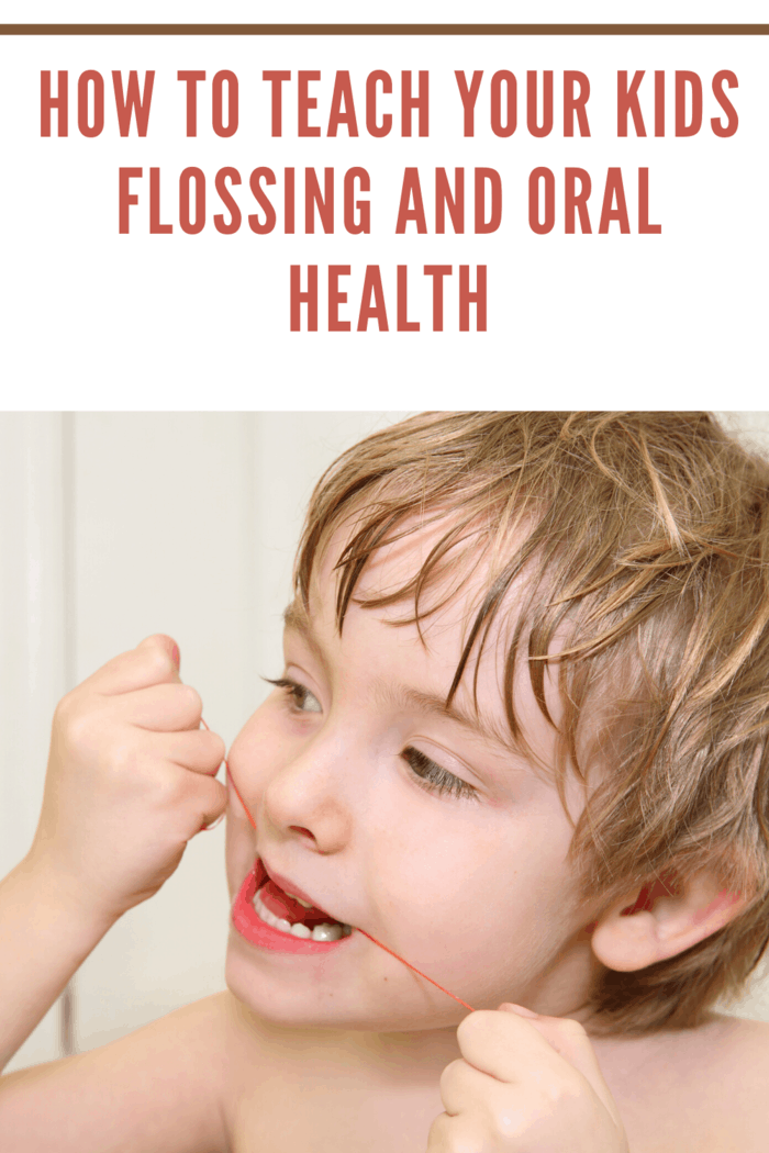 child learning to floss