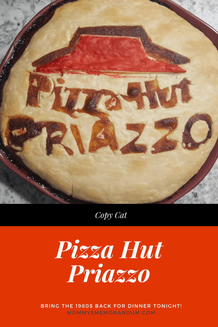 """priazzo with cut out letters that read """"Pizza Hut Priazzo"""""""