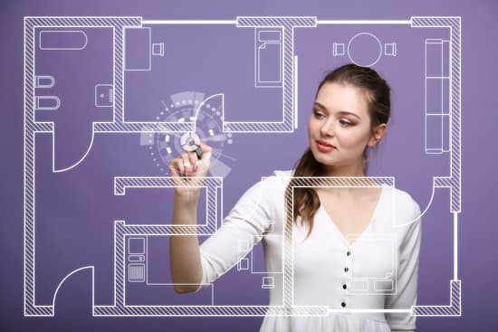 Female architect working with a virtual apartment plan on violet background