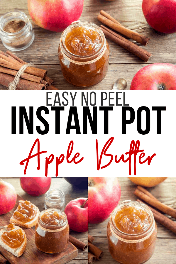 instant pot applebutter on table with cinnamon sticks and apples