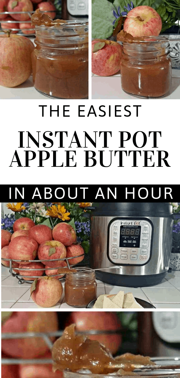 apple butter in the instant pot in about an hour collage of jar of apple butter