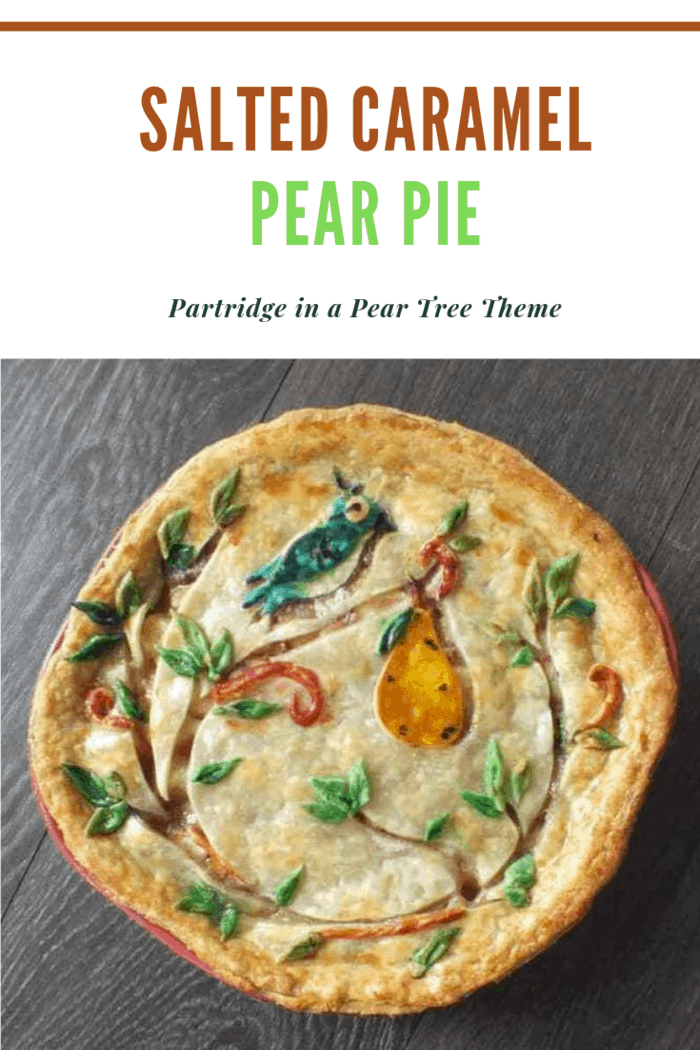 Partridge in a Pear Tree Salted Caramel Pear Pie. It's ooey-gooey caramel with pears and cinnamon,