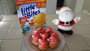 Entenmann's Little Bites Sugar Cookie Muffins Santa Hats #SantaHats #SugarCookies #Entenmanns