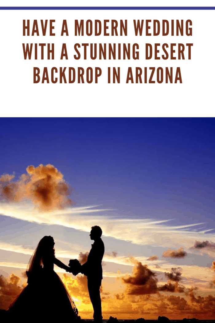 silhouette of modern wedding bride and groom against a stunning arizona sunset