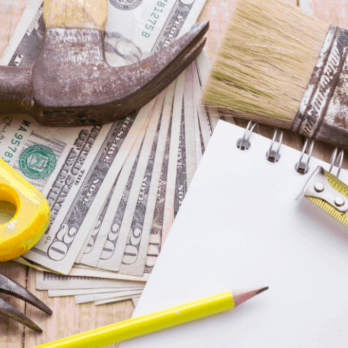 Tools and notebook to make a budget of remodeling or DIY at home