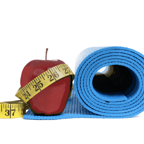 yoga mat,apple,and tape measure isolated white background