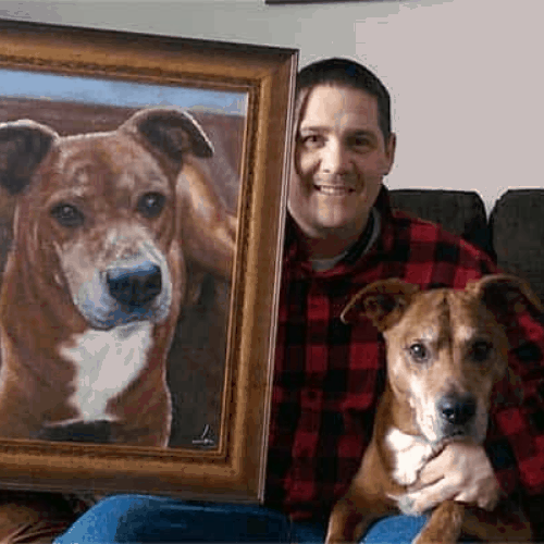 gift idea man with dog and painting of dog