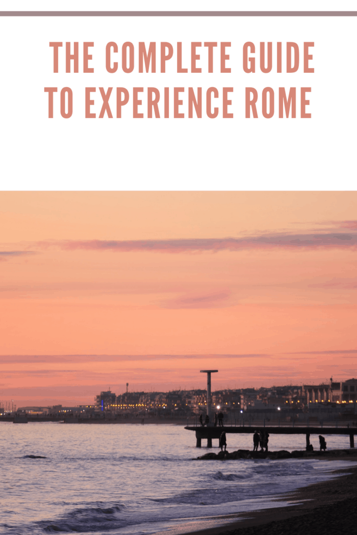 sunset in Ostia beach, Rome, Italy