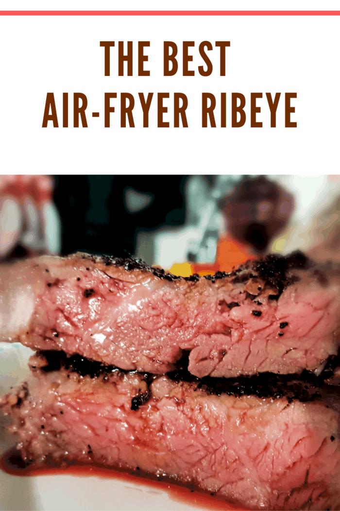 air fryer ribeye close up