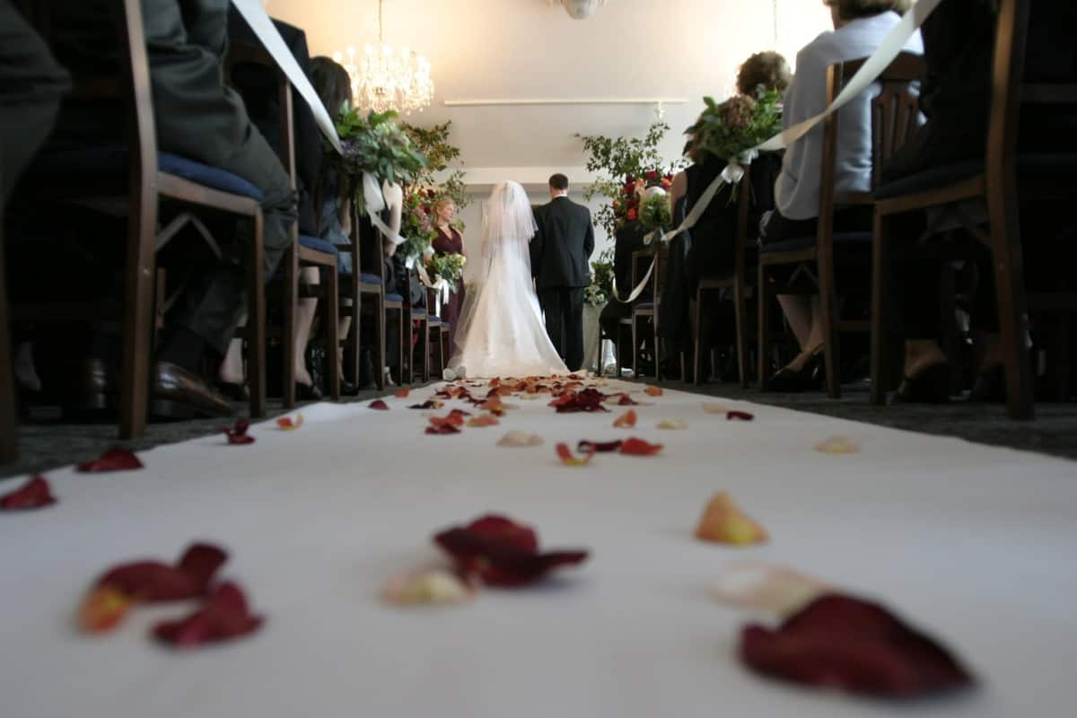 bride and groom walking down the aisle at on of the Top Wedding Venues in the US
