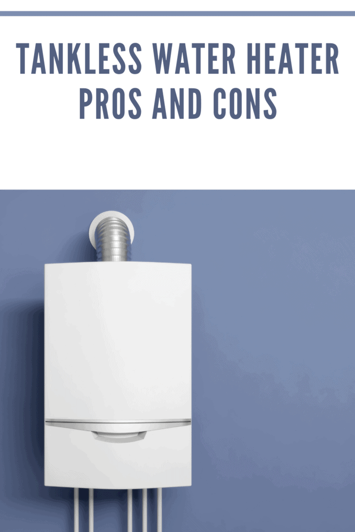 tankless water heater on purple wall