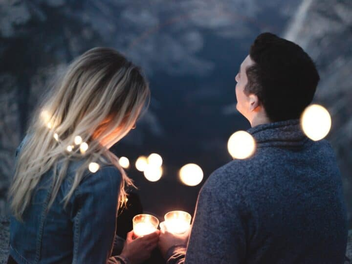 couple enjoying time together with lights