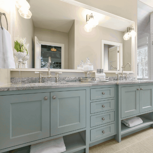 Two handle faucets with large mirror