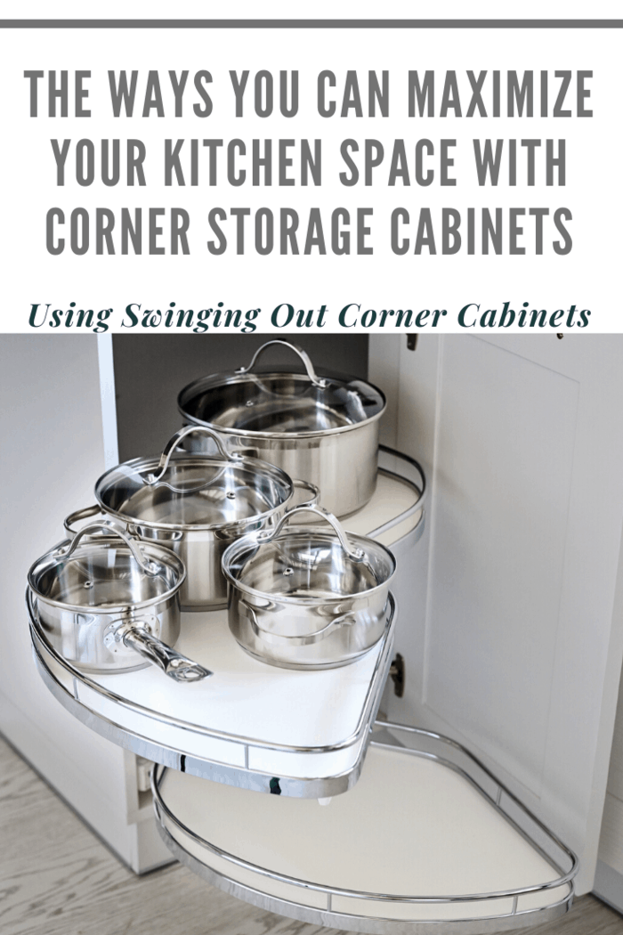 These types of cabinets are also a good way to increase the space available inside your kitchen. You can easily improve the storage capabilities with the help of these swinging corner cabinets.