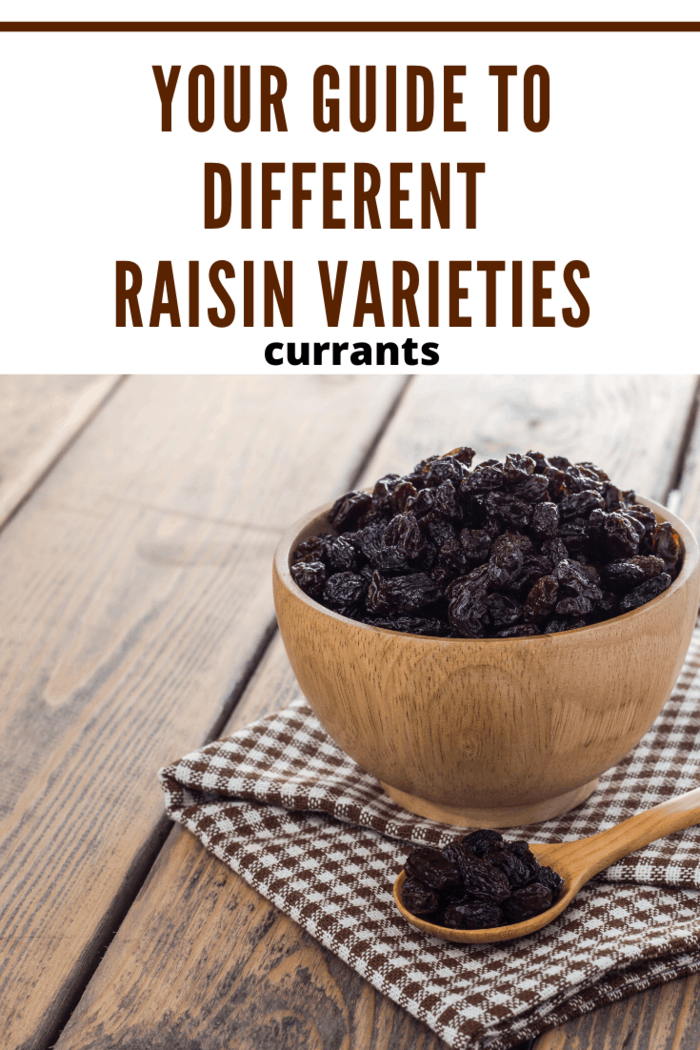Currants are made from Black Corinth grapes. in wooden bowl.