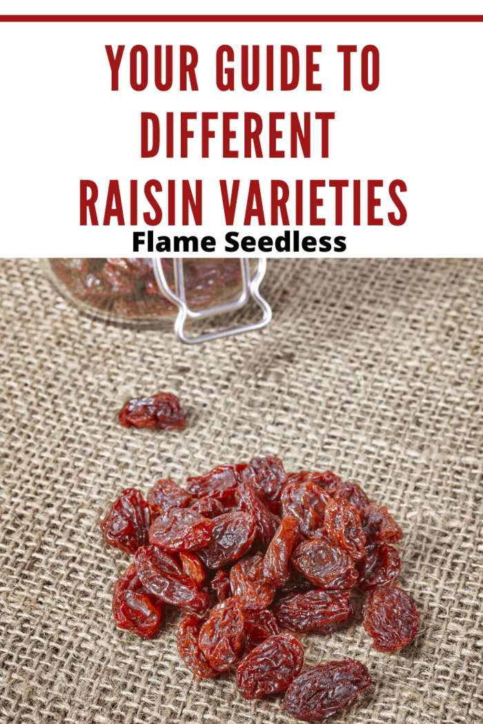 Flame Seedless raisins on burlap