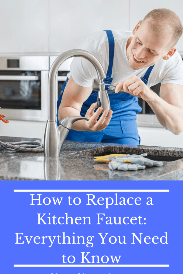 First is removing the old faucet and the second is replacing it with a new one.