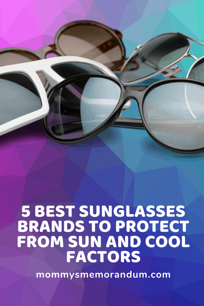 several pair of sunglasses name brands in a pille