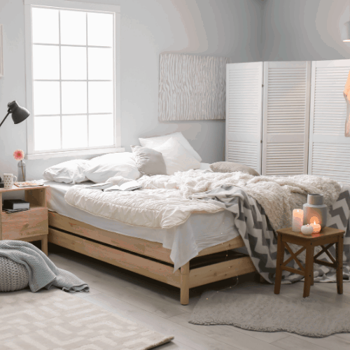 Stylish interior with comfortable bed to help you sleep better