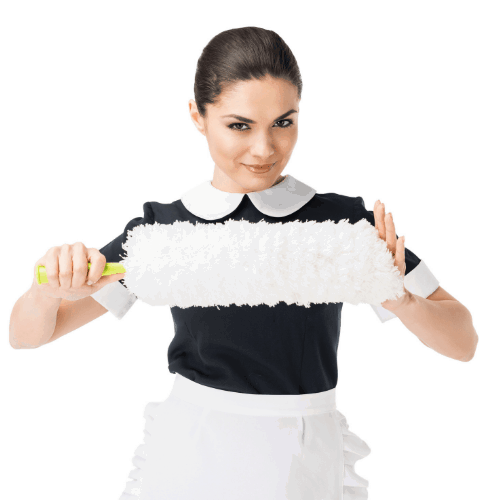 Professional maid in uniform holding duster isolated on white
