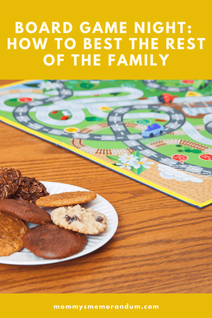 chutes and ladders board game night with cookies for snacks