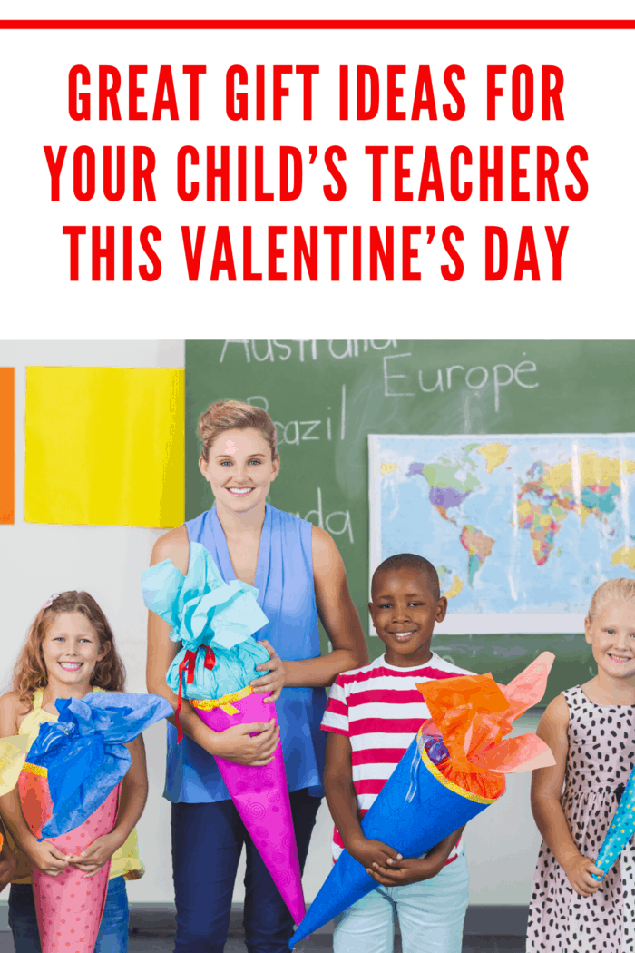 teacher with gifts and student's on Valentine's Day