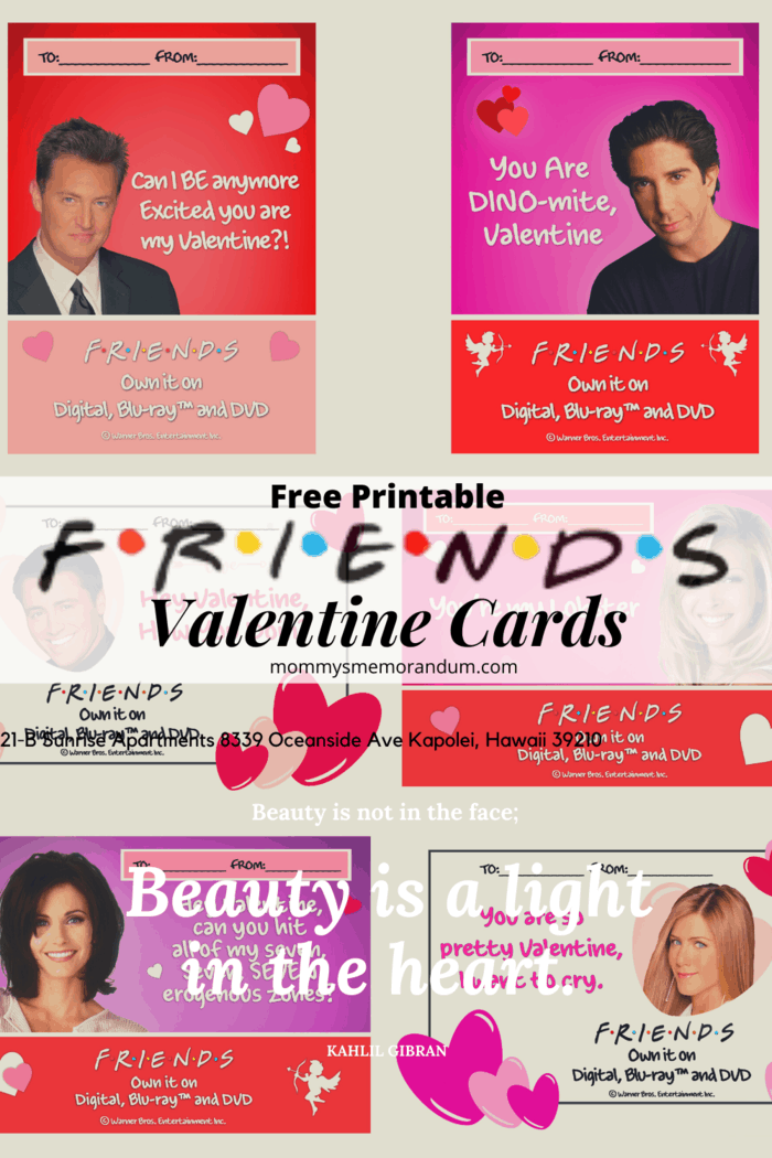 February 14th, you either love it or hate that it's Valentine's Day. For those that love it, we're honoring FRIENDS and one of TV's most lovable couple and epic circle of besties – we have everything you need to get you through the holiday with these FREE PRINTABLE FRIENDS Valentine Cards.