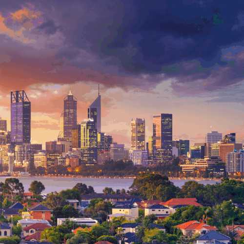 Panoramic aerial cityscape image of Perth skyline, Australia during dramatic sunset.