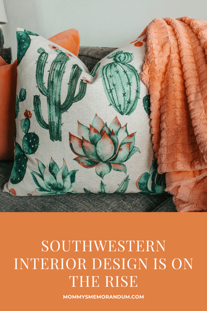 Two southwest decor Pillows on Gray Couch