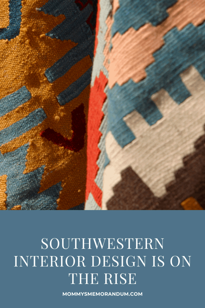 southwestern decor woven blankets close up