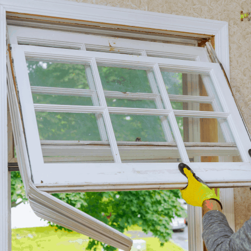 renovation work in an old house and replacing windows, building energy efficiency