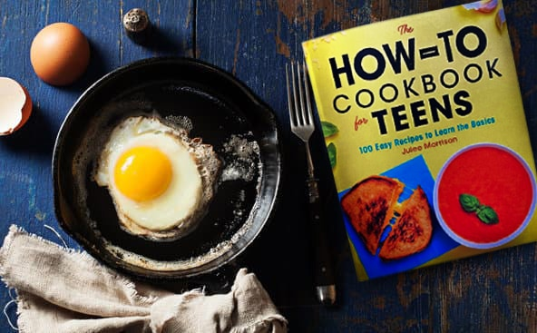 Your tween/teen can learn the basics of cooking, like making fried eggs, in The How-To Cookbook for Teens. It's filled with 100 easy recipes to learn how to cook!