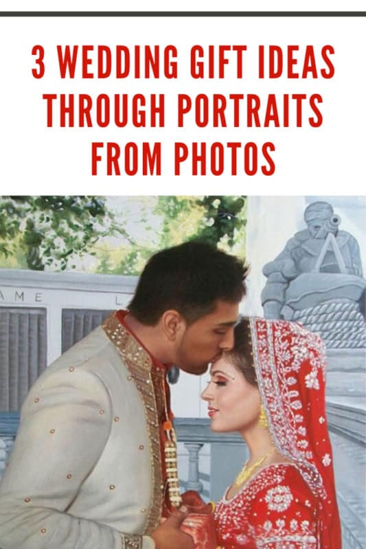 Indian wedding portrait painting by a professional artist created from original photography of a happy couple.