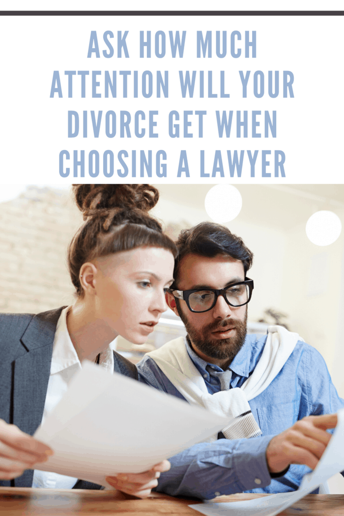 divorce attorney working with client on divorce